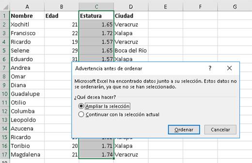 Ordenar datos en Excel - Computación del Golfo